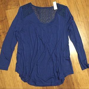 NWT Old Navy Blue Crochet Back Swing Top